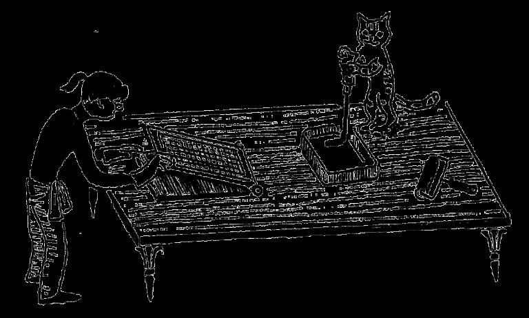 ガリ版印刷をする人と猫のレトロなイラスト