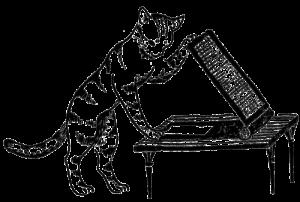 レトロイラスト線画モノクロ猫