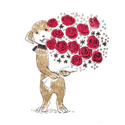 かわいい犬の版画イラスト
