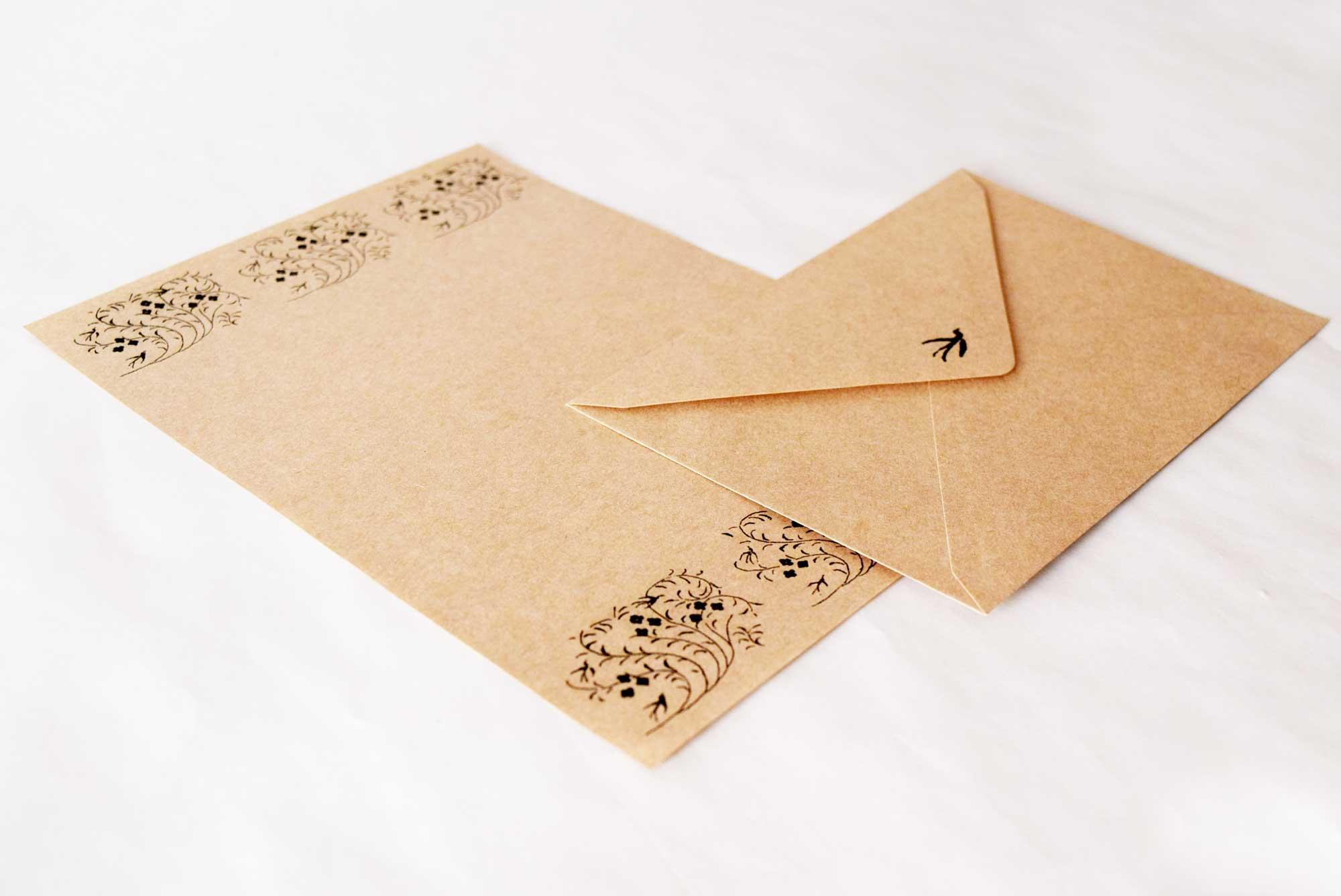封筒・便箋 素材:クラフト紙